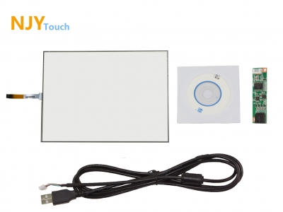 "NJYTouch 15inch 4 Wire Touch Panel 322 x 247mm USB Controller Card For 15"" LCD Screen"