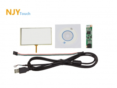 NJYTouch 6inch 4 Wire Resistive Touch Panel Glass 152 x 87mm With USB Controller Card Kit